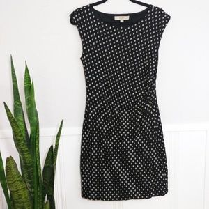 LOFT Black & White Ruched Cap Sleeve Dress